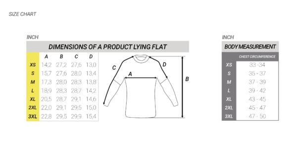 flyboard man rashguard chart size