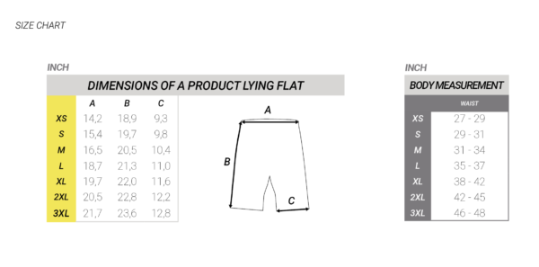 flyboard shorts chart size
